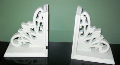 Shabby Chic Bookends-shabby,scrolls,chic,cottage,cream,bookends,