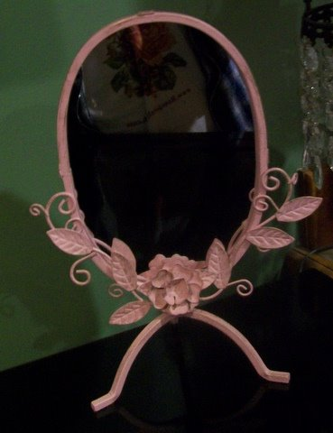 Pink Standing Mirror Shabby Cottage Chic-metal,mirror,pink,shabby,chic,cottage,pretty,roses