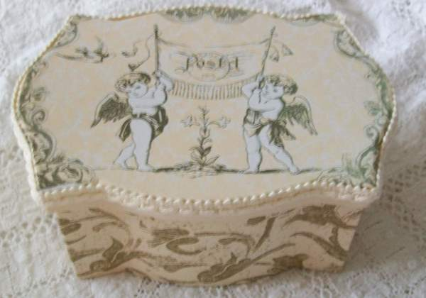 Shabby Little Pink Toile Angel Box-angel,box,shabby,cottage,chic