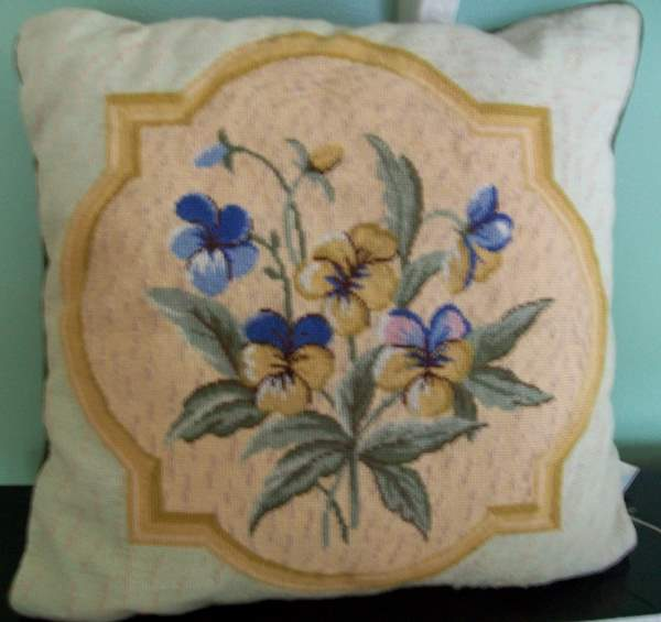 Pansy Needlepoint Throw Pillow-needlepoint,pillow,pansy,throw