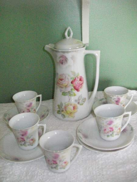 Shabby Roses Chocolate Pot Set-shabby,chic,chocolate,cups,saucers,