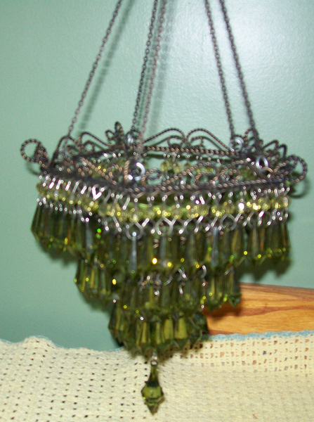 Hanging Crystal Candle Holder-votive,candle,holder,green