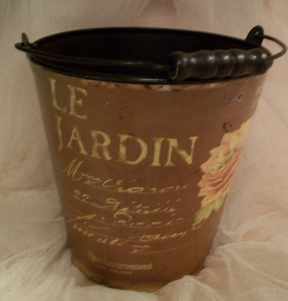 Paris Shabby Cottage Chic Metal  Bucket-french,paris,cottage,bucket,metal