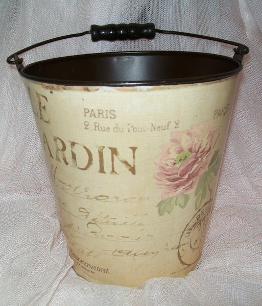 Paris Cottage Shabby Chic Metal Bucket-French Paris Cottage Chic  Metal Bucket