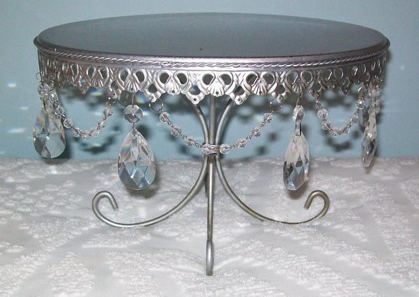 Silver Pedestal Metal Stand with Crystals