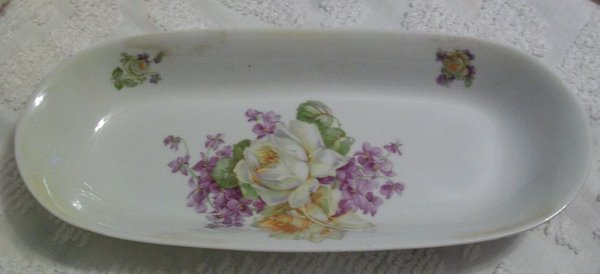 Beautiful Rose and Violets Bread or Celery Bowl-german,roses,bowl