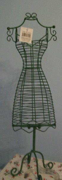 Tall Green Wire Dress Form Jewelry Holder-dress,form,chic,green,wire