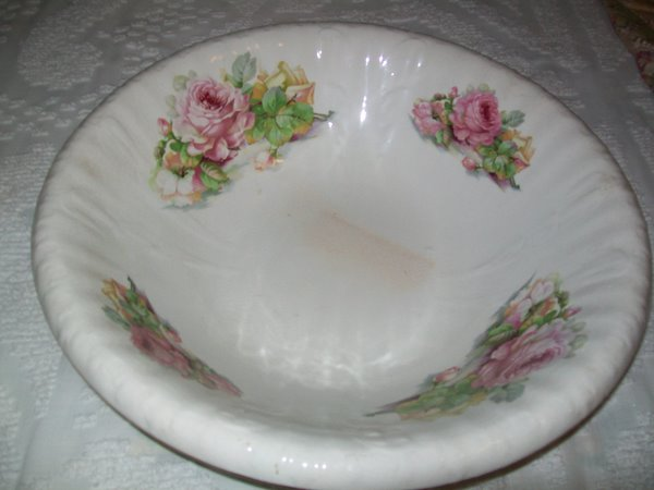 Large Ironstone Basin Bowl with Roses-ironstone,bowl,roses