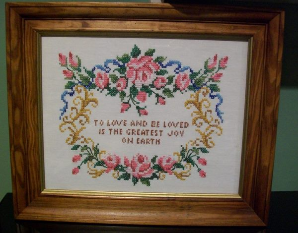 Framed Cross Stitch-cross,stitch,frame,roses,