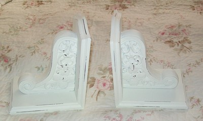 Pair of Shabby Chic White Bookends-shabby,cottage,chic,bookends,wood,white
