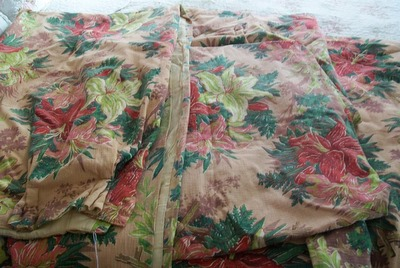 Four Barkcloth Drape Panels Tropical Pink-barkcloth,drape,curtains,panels,pink,hibiscus,vintage,shabby,cottage,chi