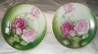 Two Signed Handpainted Rose Plates-roses,plates,handpainted,shabby,cottage,vintage