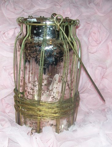 Mercury Silvered Glass Candle Holder-silvered,glass,vase,mercury,candle,holder,wire,work