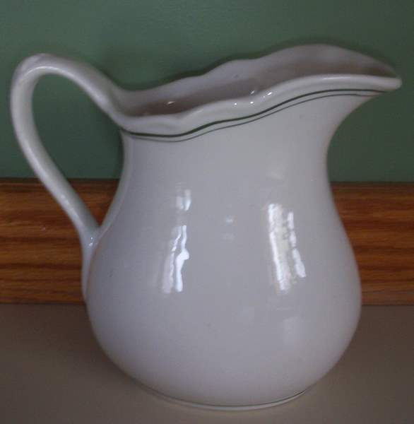Vintage White Ironstone Pitcher-white,ironstone,pitcher,vintage