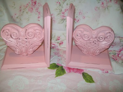 Pink Heart Bookends Shabby Cottage Chic-shabby,pink,heart,bookends,
