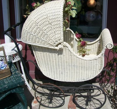 Large Antique Wicker Baby Carriage-victorian,carriage,wicker,cream,antique